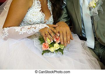 bukett, bröllop, Ringer, räcker