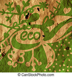 Eco background with symbols and plants