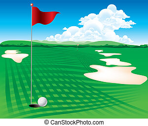 Flag and the golf field - The abstract of Flag and the golf...