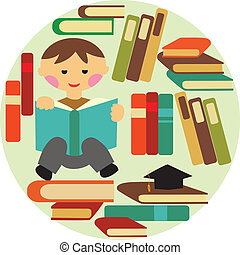 boy reading on pile of books - vector illustration of school...