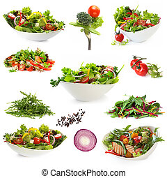 Collection of Isolated Salads - Collection of salads,...