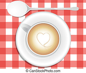 cappuccino heart - illustration of cappuccino, view from...