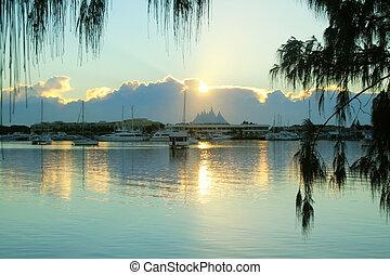 Sunrise Over Marina Mirage - Sunrise over Marina Mirage on...