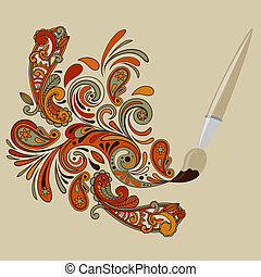 Painting Brush - vector concept cartoon brush painting...