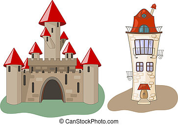 Vector Castle and House - vector medieval castle and house,...