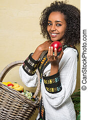 Smile from Ethiopian woman - Smiling Ethiopian woman in...