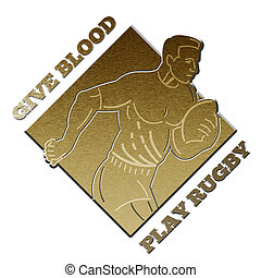 rugby player give blood play rugby - illustration of a rugby...