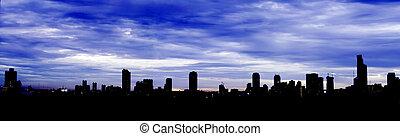 City Skyline Silhouette - Panorama View of City Skyline...