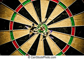 Dart bulls eye - Darts on a dartboard