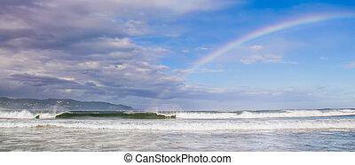 Rainbow - A huge rainbow over the ocean