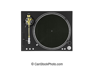 Closeup of vintage turntable, view from above
