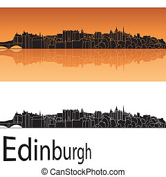 Edinburgh skyline in orange background in editable vector...