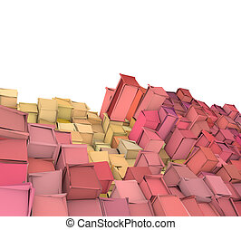 abstract 3d shape backdrop in pink orange