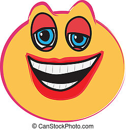 Laughing face illustration on white, vector image