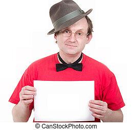 Portrait of a man showing