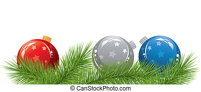 vector christmas balls and fir tree branches