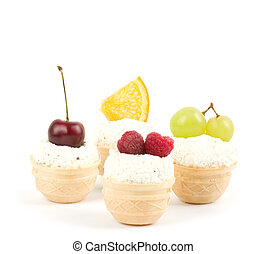 Tasty fruit cakes on the white background