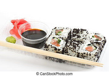 Traditional Japanese food Sushi. Sushi collection in plastic...