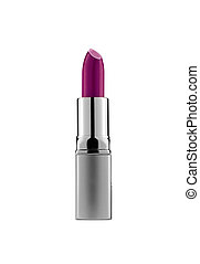 púrpura, lápiz labial, aislado, blanco
