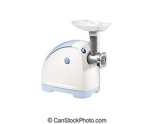 Force-meat and meat grinder. Isolated over white