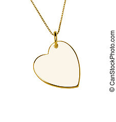 Golden heart pendant isolated on white background