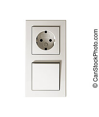 Socket and switch On a white background - Socket switch On a...