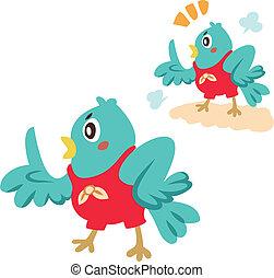 a blue bird is talking