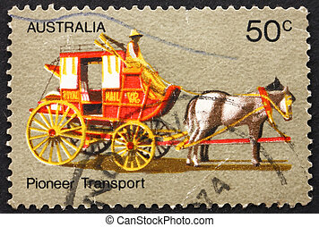 Postage stamp Australia 1972 Coach Transport, Pioneer Life -...