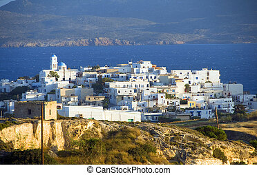panoramic view of Adamas Plaka typical Greek island Cyclades...