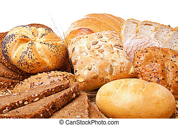 assortment of baked bread over white background