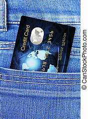 credit card in jeans trousers pocket