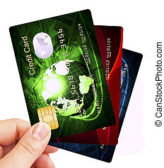 credit cards fan holded by hand over white background