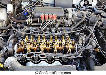 LPG converted engine - Close up of gasoline car engine,...