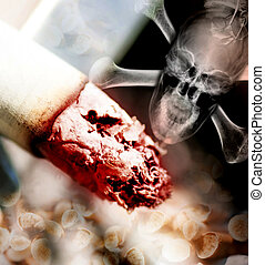 concept illustration of the danger of smoking tobacco