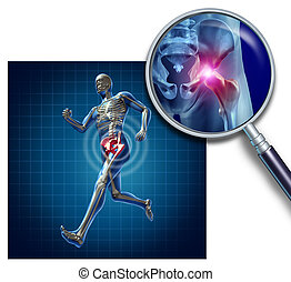 Sports Hip Injury - Sports Hip injury with a running athlete...