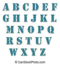 Blue Glitter Stencil Alphabet