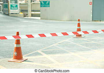 No entry,Red tape - Red tape cross over on road ,no entry
