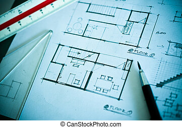 Work of interior design concept and drawing tools