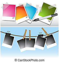 Blank hanging Photos - An image of a set of blank photos...