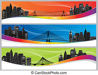 night city silhouette with bridge on colorful background