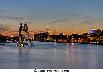 Berlin at sunset - View of the river Spree in Berlin with...