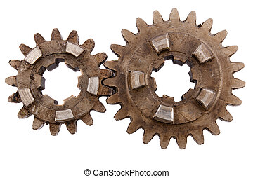 gears on a white background - Spare Parts, gears on a white...