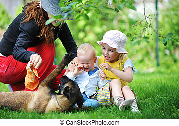 Family with dog - girl and her little brother playing with...