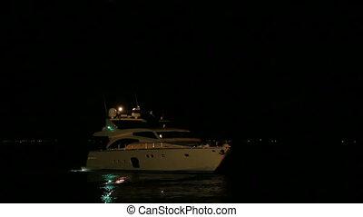 A boat at night