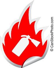 fuego, Extintor, vector, señal