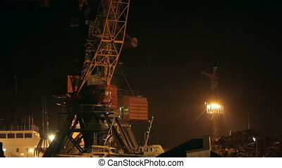 Cargo crane in a port