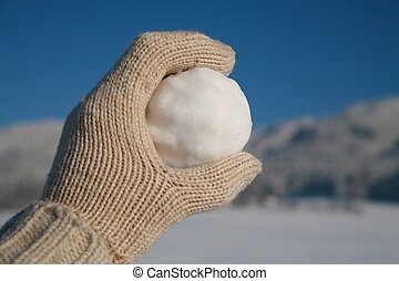 Snowball - happy snow ball fight in winter time
