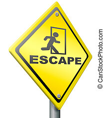 escape route, exit sign or icon