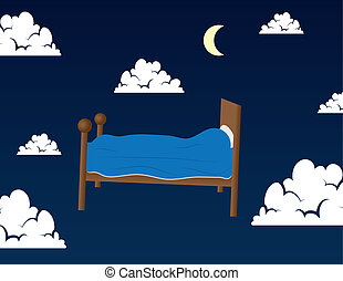 Bed in the clouds - Bed floating in the clouds in someone's...