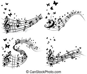 Set of musical background with butterfly. Vector...